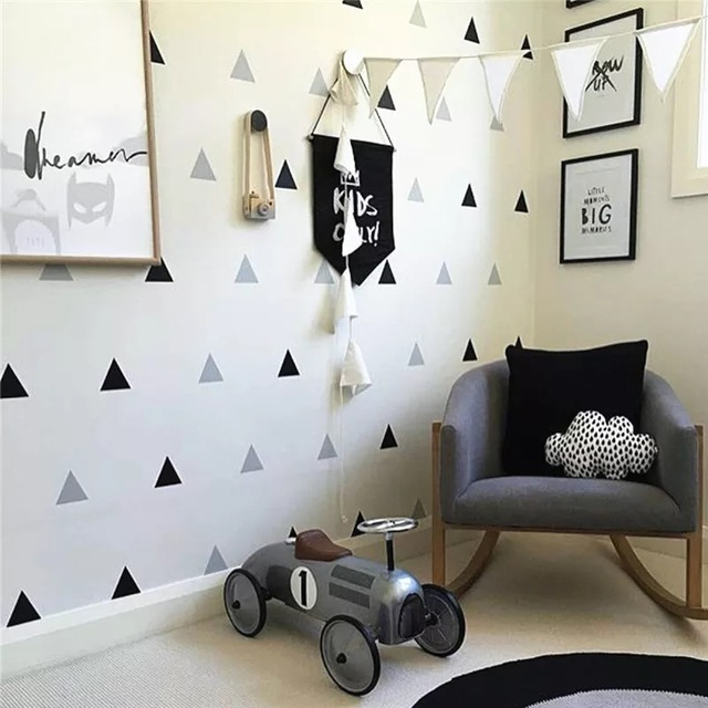 Baby Boy Room Triangles Wall Stickers Simple Shape for Children Room Art Decorative Sticker Kids Nursery Wall Decals Home Decor