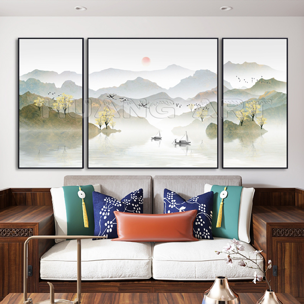 Pure Hand Painted Chinese Style Mountain and Lake Ink Landscape Painting on Canvas for Decor Group Gold Landscapes Oil Paintings in Painting Calligraphy from Home Garden