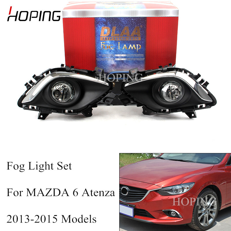 Hoping 1 Set For <font><b>Mazda</b></font> <font><b>6</b></font> Atenza 2013 2014 2015 Front Bumper Fog <font><b>Light</b></font> Fog Lamp Wiring Switch Harness H11 12V 55W Halogen Set image