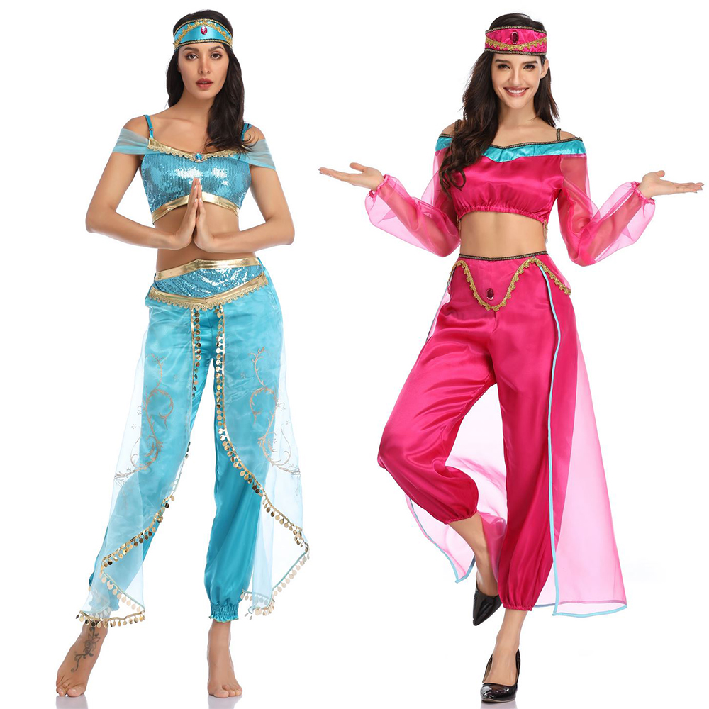 Halloween Carnival Aladdin Jasmine Princess Clothing Cosplay Adult Women Girl Fancy Dress Up Party Costume Sets 2019 New Style