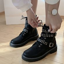 Retro Rivets Black Martin Boots Women Fashion Zipper Belt Buckle Vintage Ankle Boot for Student Motorcycle Boots Single Booties(China)
