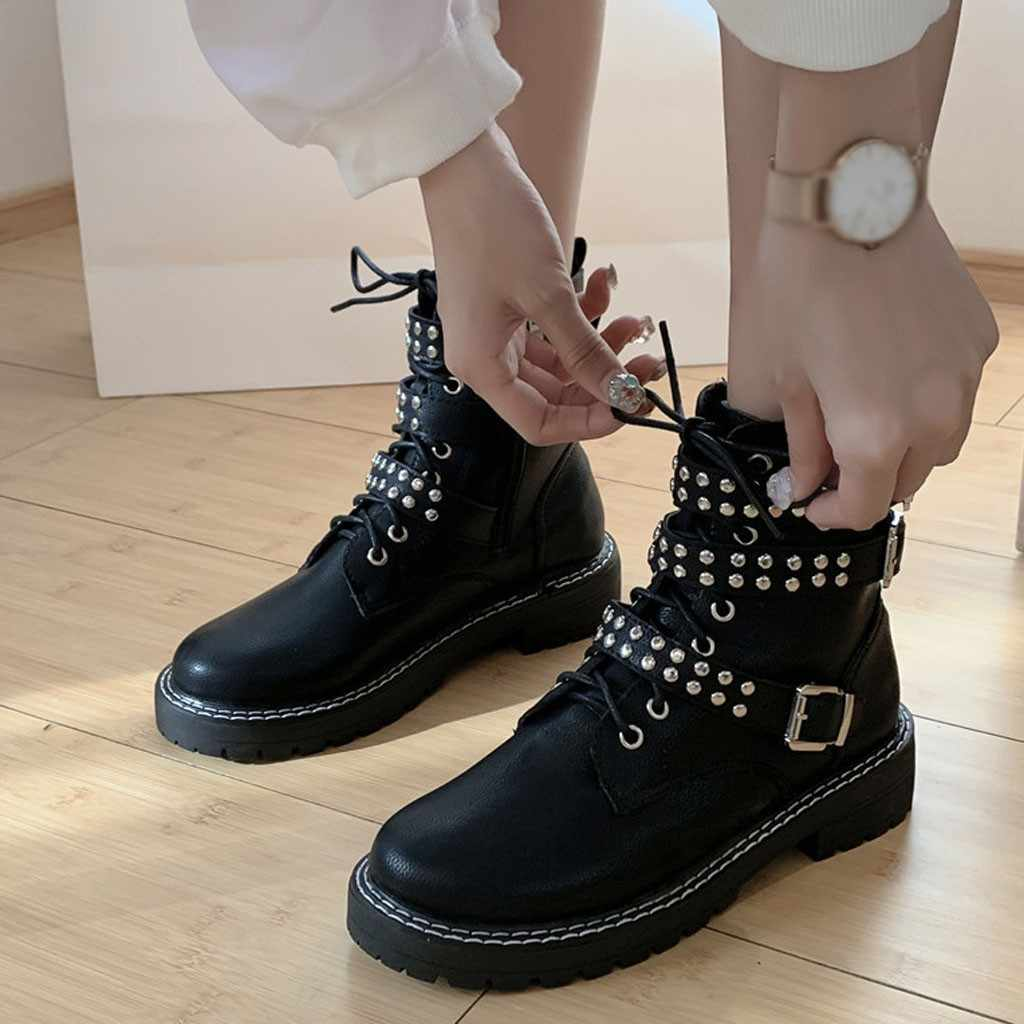 Retro Rivets Black Martin Boots Women Fashion Zipper Belt Buckle Vintage Ankle Boot for Student Motorcycle Boots Single Booties