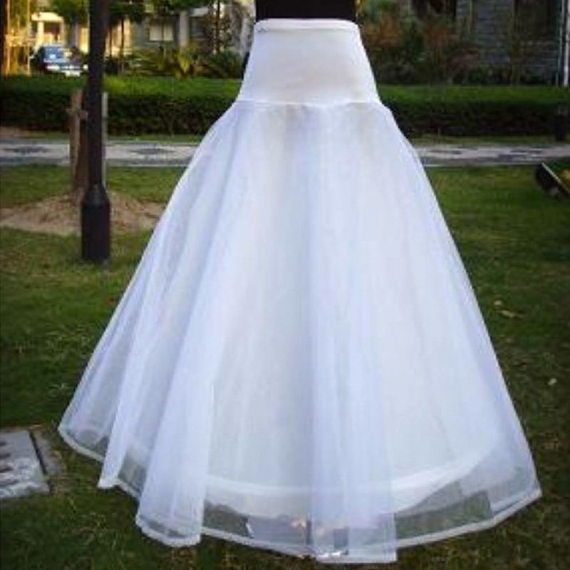 Womens A-Line 1-Hoop Fishtail Petticoat Bridal Full Length Layered Ball Gown Slips Tulle Crinoline Underskirt For Wedding Dress