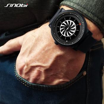 SINOBI nowi mężczyzna zegarek obrotowy kreatywny zegarek mężczyzna niebieska skóra z zegarem kwarcowym sport i rozrywka modne zegarki Reloj Hombre tanie i dobre opinie 21cm QUARTZ 3Bar Klamra Stop 10mm Hardlex Kwarcowe Zegarki Na Rękę Papier 44mm SNB-9808 22mm Okrągły Odporny na wstrząsy