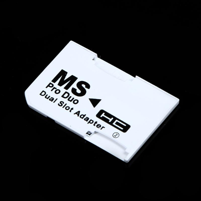 Memory Card Adapter Micro SD TF Flash Card to Memory Stick MS Pro Duo for PSP Card Dual 2 Slot Adapter White 3