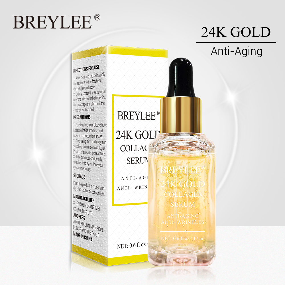 BREYLEE 24k Gold Serum Collagen Essence Anti-Aging Remove Wrinkles Face Skin Care Lifting Firming Whitening Repairing Serum 17ml