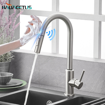 Baterie kuchenne inteligentny czujnik wysuwana ciepła i zimna woda przełącznik Mixer Tap Smart Touch Spray Tap kuchnia wygodne zlewozmywaki tanie i dobre opinie Haliaeetus NONE CN (pochodzenie) Polerowane STAINLESS STEEL Jeden otwór ceramic Pojedynczy uchwyt pojedynczy otwór PK-015