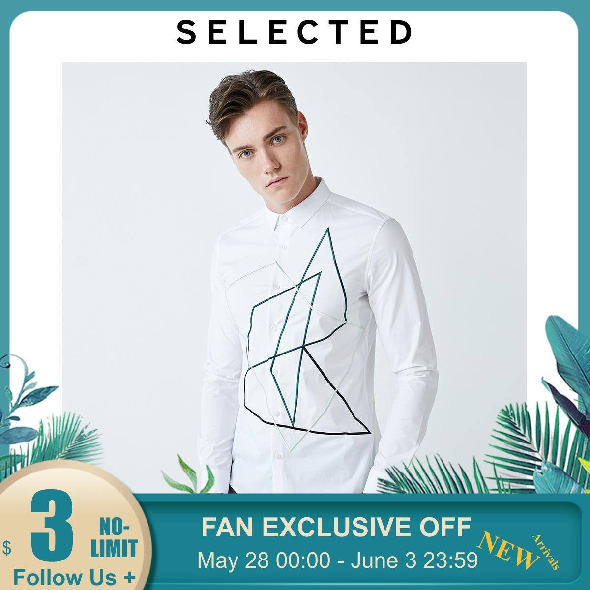 SELECTED Men's Slim Slightly Stretch Embroidered Long-sleeved Shirt S 419305590【Fan Get New Arrivals Coupons In The Description】