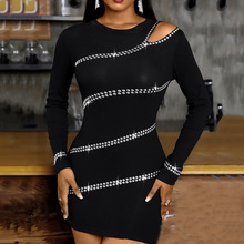 Sexy Club Wrap Dress Spring Autumn The New Trendy Creative Designer Thin Elastic Best Sellers Strapless Hot Drilling Round Neck