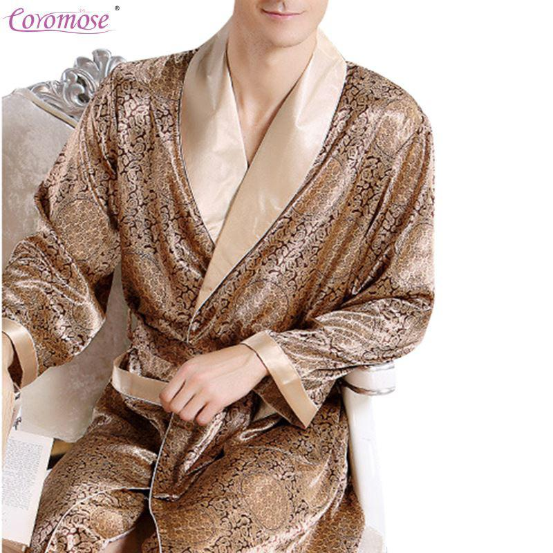 MISSKY Men's Comfortable Satin Robe Bathrobe Luxury Sleepwear Loungewear