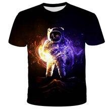 Verão mais vendido espaço astronauta t personalizado 3d impresso interestelar crianças t camisa menino menina adolescentes confortável topos