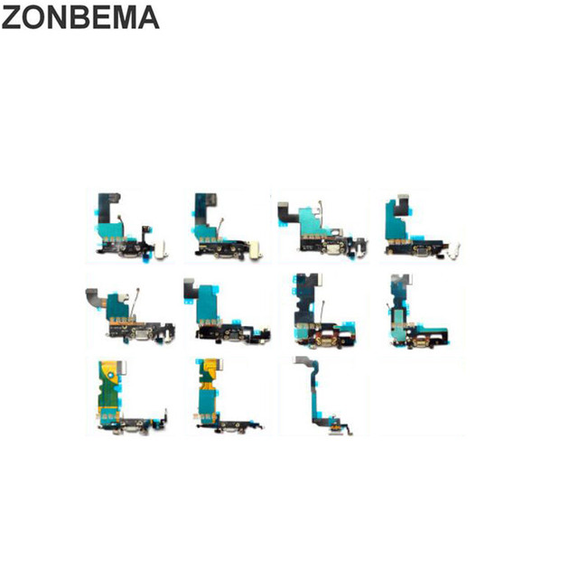 ZONBEMA 50pcs Charging Port Flex Cable for iPhone X 5 5S 5C SE 6 6S 7 8 Plus XR XS MAX USB Dock Connector Charger