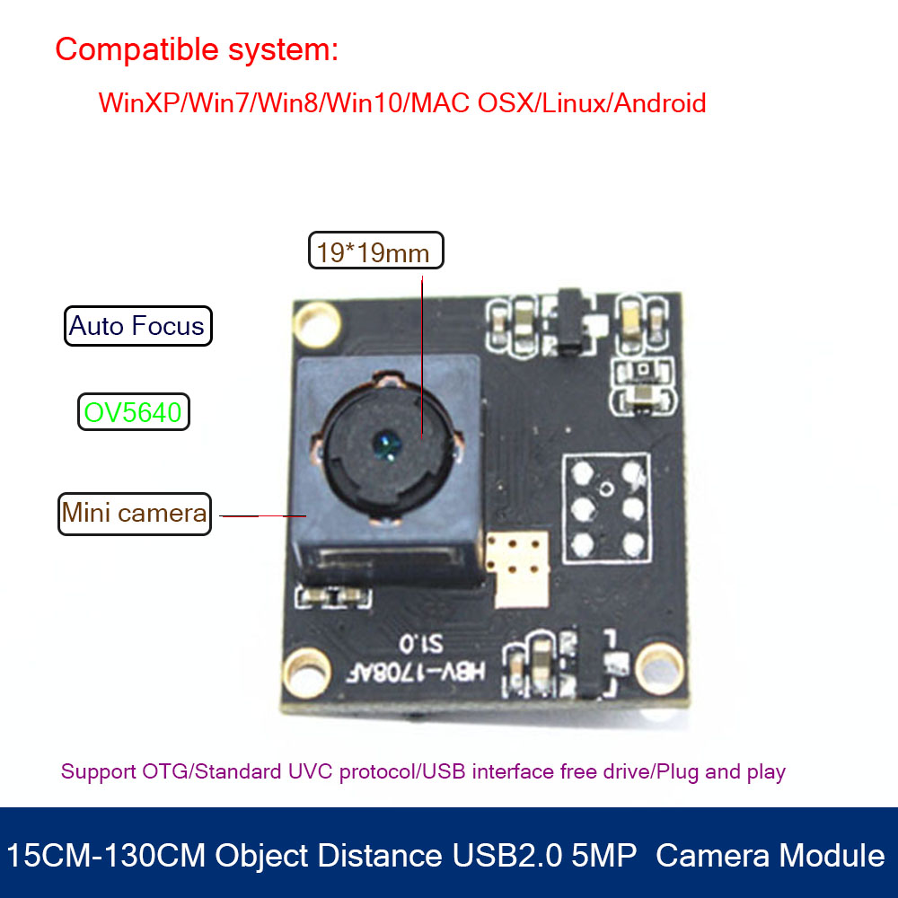 HBVCAM 5MP Micro Usb Camera Module USB2 0 Cable 15CM 130CM Object distance for Windows 2000 Windows XP Windows 7 in Surveillance Cameras from Security Protection