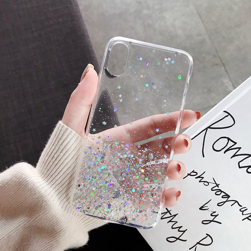 H8c2fd65a4e7045958bb709c23980307e5 - WALITIAN Luxury Bling Sequins Star Glitter Phone Case Cover Case Transparent Soft TPU Fitted Case Apple Iphones