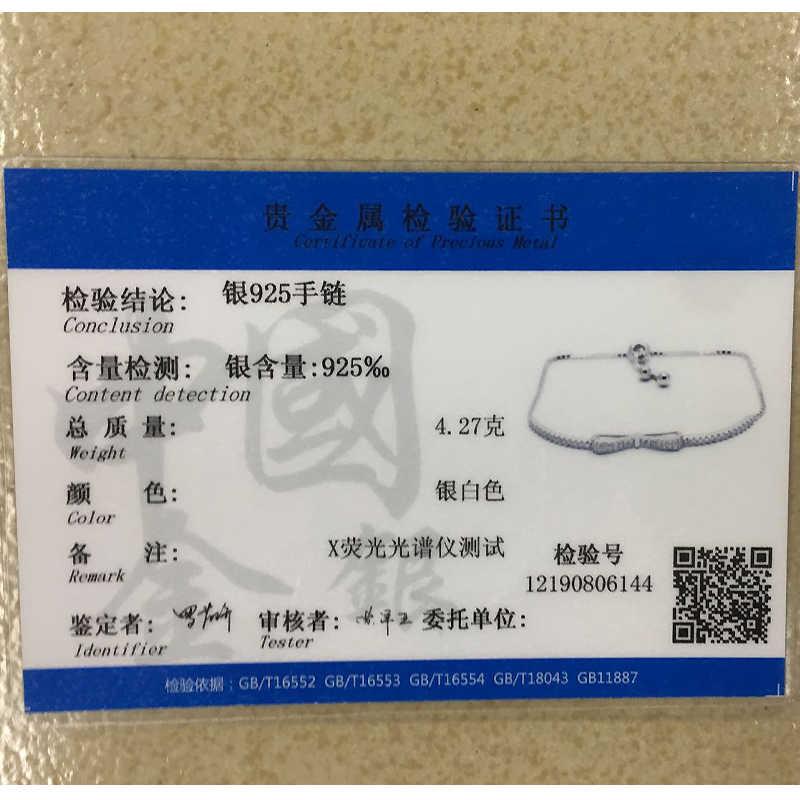 Ruifan moda caja de cadena Bowknot 100% Plata de Ley 925 pulsera señoras pulseras de circón cúbico mujer joyería YBR057