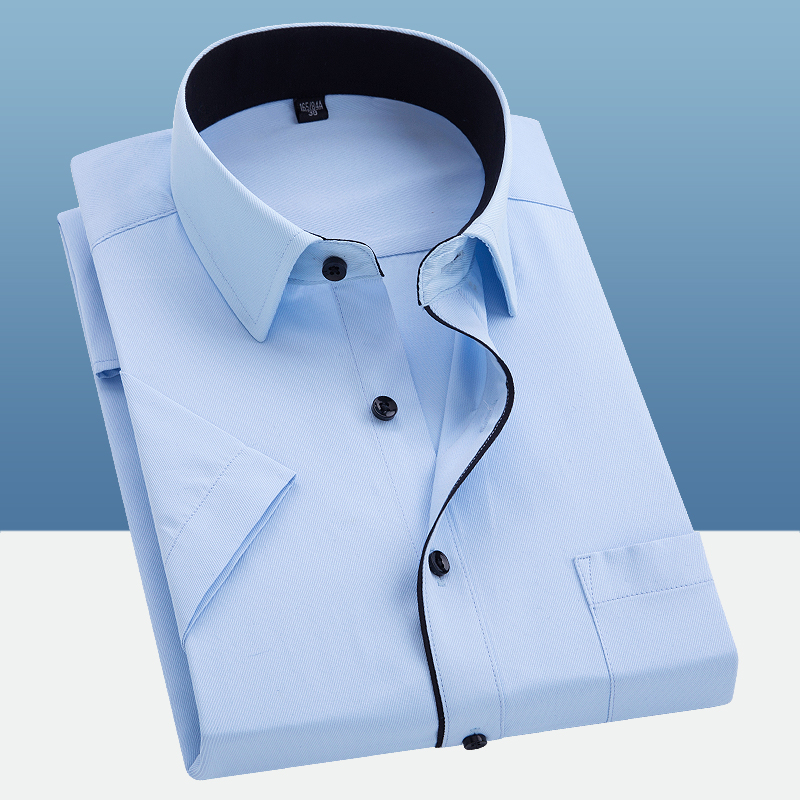 Men's Summer Short Sleeve Solid Basic Dress Shirts Regular Fit Comfortable Soft Twill Work Office Formal Business Tops Shirt