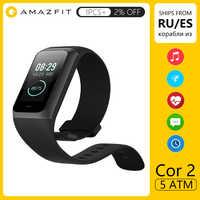 Amazfit Fascia Cor 2 Astuto della vigilanza 5ATM Impermeabile 2.5D Colore Telaio In Acciaio Inox Per Android IOS Huami smartwatch Braccialetto