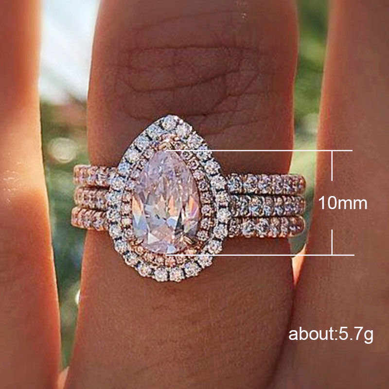 Water Drop Pear Ring Inlaid Powder Crystal Design New European and American Creative Three Layer Women's Engagement Ring Jewelry