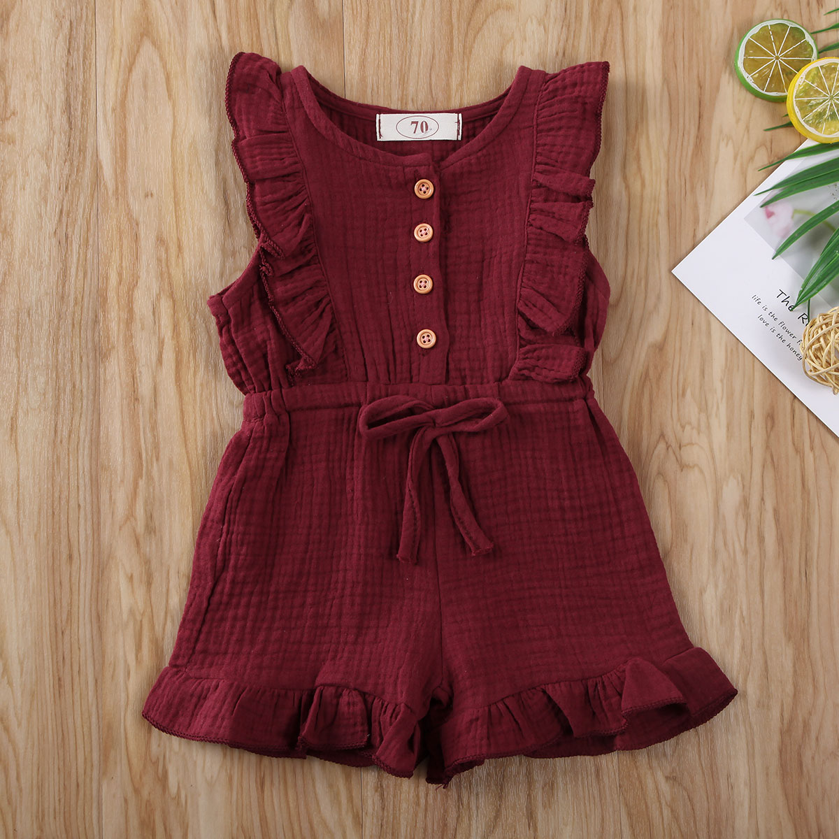 Pudcoco Newborn Baby Boy Girl Clothes Solid Color Sleeveless Ruffle Button Frenulum Romper Jumpsuit One-Piece Outfit Cotton Set