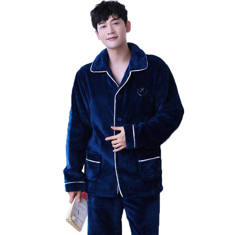 Winter Mens Sleepwear Set Warm Flannel Pajama Sets Men's Tracksuit Coral Velvet Pyjamas Sets Night Suit Nightwear Loungewear Men