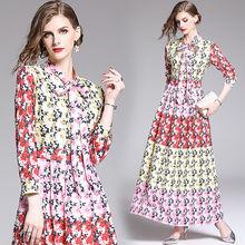Осеннее розовое платье макси с принтом для женщин повседневное