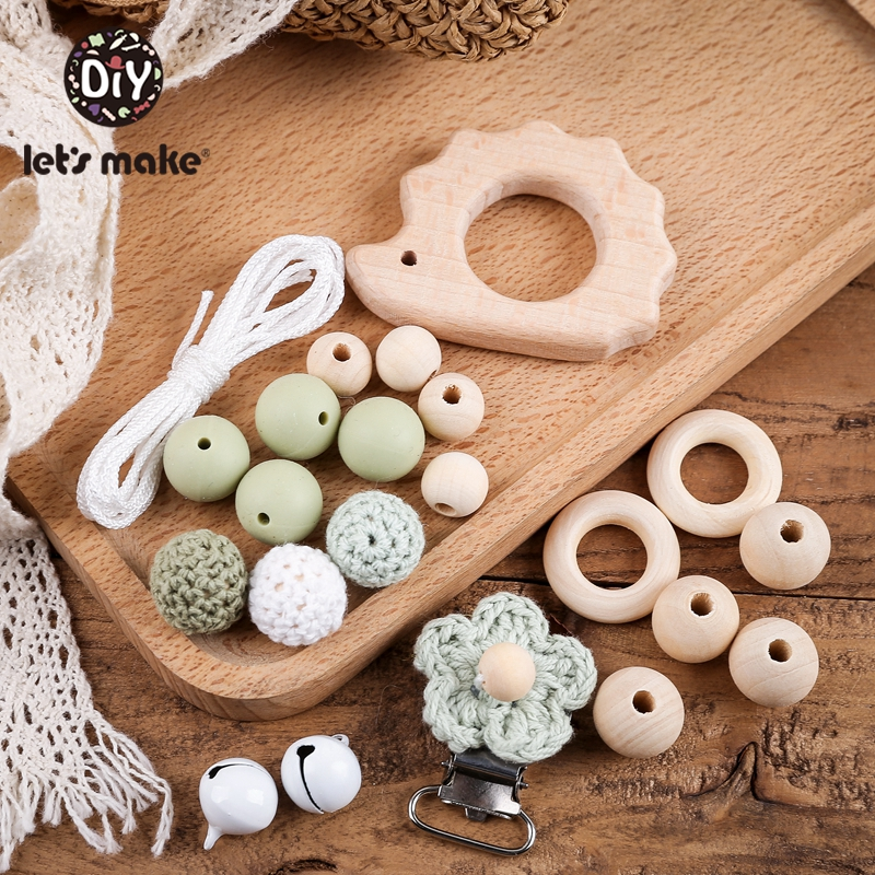 Let's Make 1 Set Silicone Beads Wooden Teether Animal DIY Ring Kit Baby Teether Bead Round Geometric Wooden Beads Wood Ring