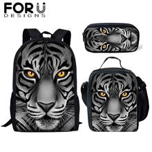 FORUDESIGNS 3Pcs School Bag Set for Boys Kids Tiger 3D Print Backpack Bagpack Children Cartoon Bookbag Satchel Daypack