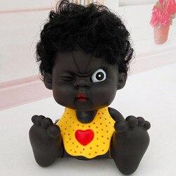 Emocje czarne dziecko Bobblehead Vinyl skarbonka kreatywne ozdoby samochodowe figurki dla dzieci prezent zabawka