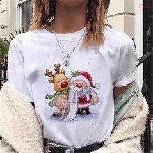 Graphic Tees T-Shirts Merry-Christmas Female Womens Casual Bear Fashion Cute Reindeer