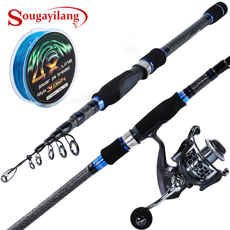 Travel Telescopic Fishing Rod and Reel Combos Spinning Reel Fishing Pole Sets