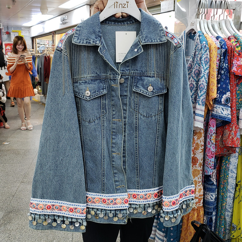 2020 Autumn Vintage New Heavy Industries Spliced Fringed Jeans Jacket Women's Loose National Wind Jackets Lady Denim Coats Femme