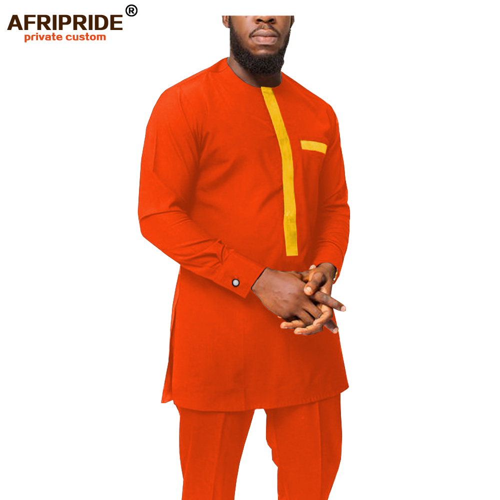2019 Dashiki Men African Clothing Ankara Shirts And Pants Set Tracksuit Tribal Outfits Bazin Riche 2 Piece AFRIPRIDE A1916056