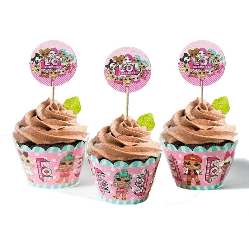 24pcs LOL Surprise Dolls Cake Card Fruit Plug-in Children Birthday Party Supplies Plugin L.o.l Surprise Birthday Party Toys Sets