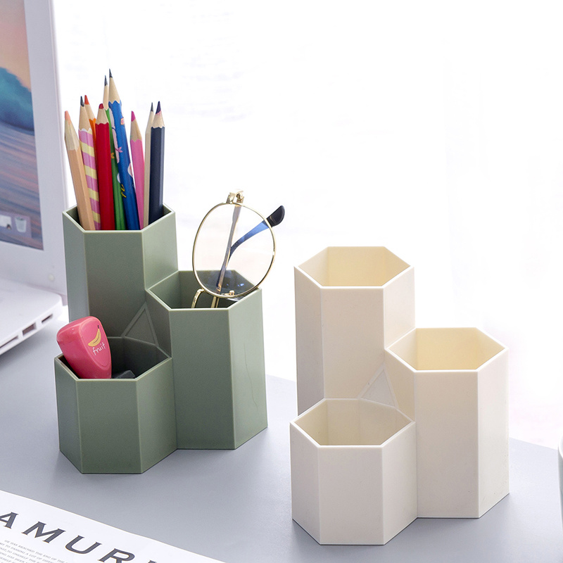 Creative Hexagonal 3 Grid Pencil Holder Pen Storage Case Multi-function Desktop Office Stationery Plastic Box Organizer