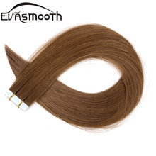 EVASMOOTH, натуральные человеческие волосы для наращивания на ленте, 10 шт., 20 шт., 40 шт., клейкие волосы для наращивания на Клейкой Ленте, 12 дюймов/16 дюймов/20 дюймов