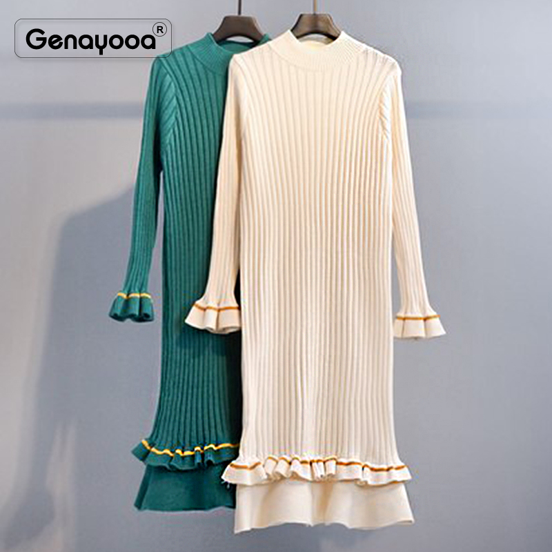 Genayooa 2019 Women Dress Elegant Knitted High Quality Winter Dresses Casual Fishtail Dress Long Sleeve Mid Calf Vestidos Female 39