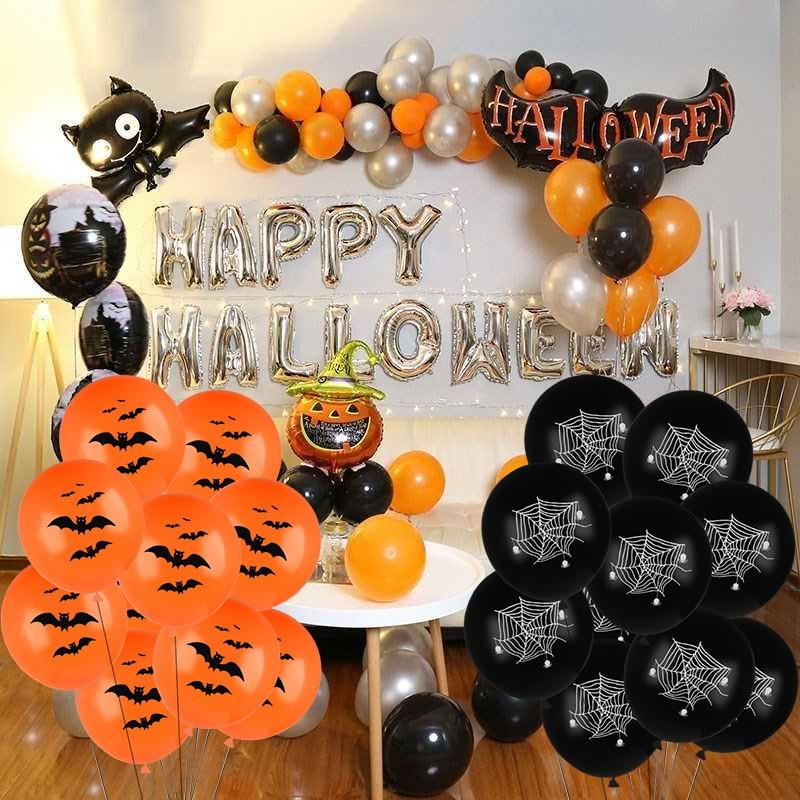 Halloween Decor Pumpkin Smiley Spider Web Latex Balloons Skull Bat Foil Air Balls Happy Halloween Banners Garland Party Supplies