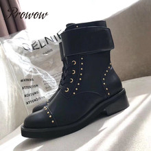 Prowow New Genuine Leather Metal Studded Ankle Boots Rond Toe Lace Up Thick Heel Low Heel Luxury Brand Shoes Women