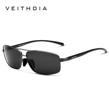 VEITHDIA markowe designerskie okulary przeciwsłoneczne męskie soczewki polaryzacyjne męskie okulary przeciwsłoneczne akcesoria do okularów очки 2458 tanie i dobre opinie CN (pochodzenie) Rectangle Dla dorosłych Aluminium Magnezu Spolaryzowane Lustro Fotochromowe Antyrefleksyjną UV400 4 2 cm