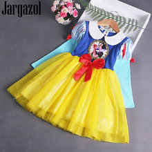 Jargazol Winter Fleece Snow Princess Dress Little Girls Costume Bow Party Tutu Dresses Vestidos Autumn Kids Christmas Outfits(China)