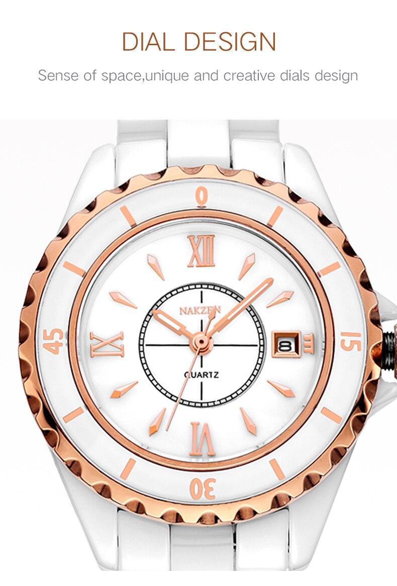 cerâmica banda de negócios de alta qualidade senhora calendário relógio
