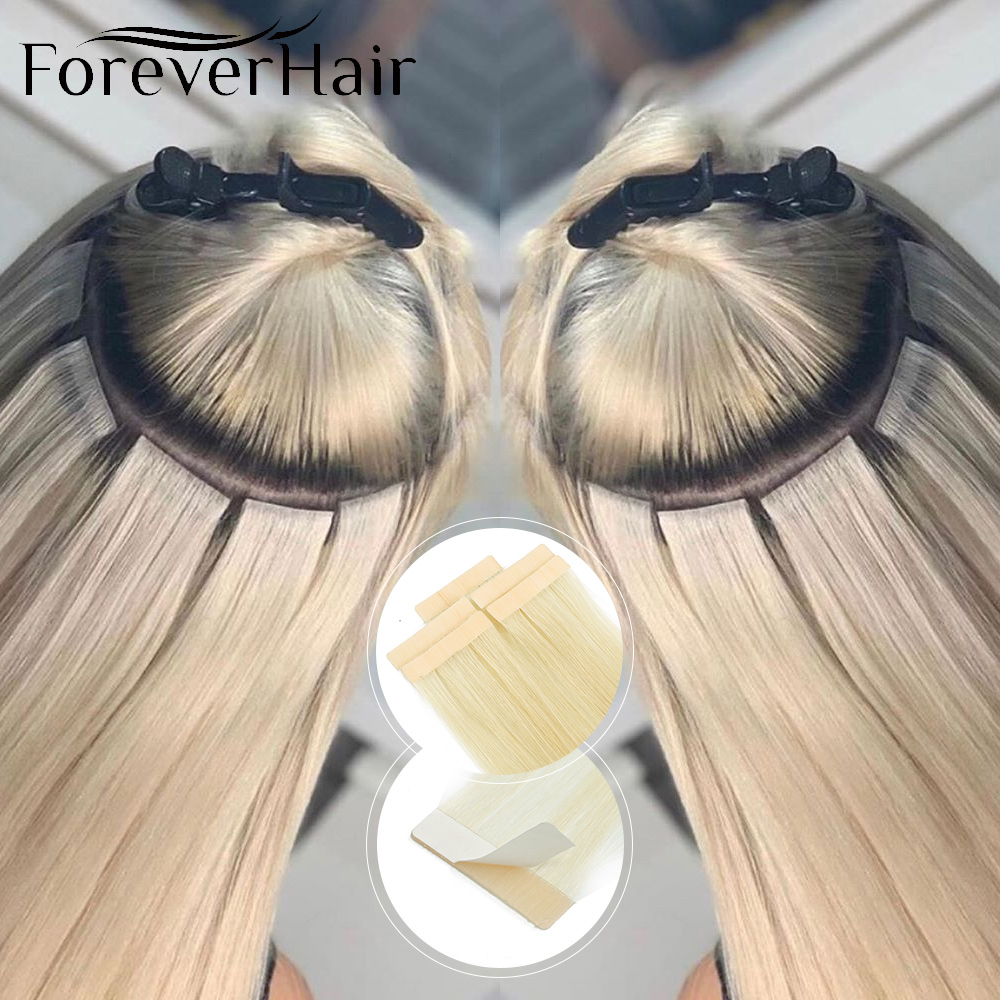 Forever Hair  Real 100% Remy Tape In Hair Human Hair Extension Seamless Skin Weft 5 Pcs Only Silky Straight For European Salon