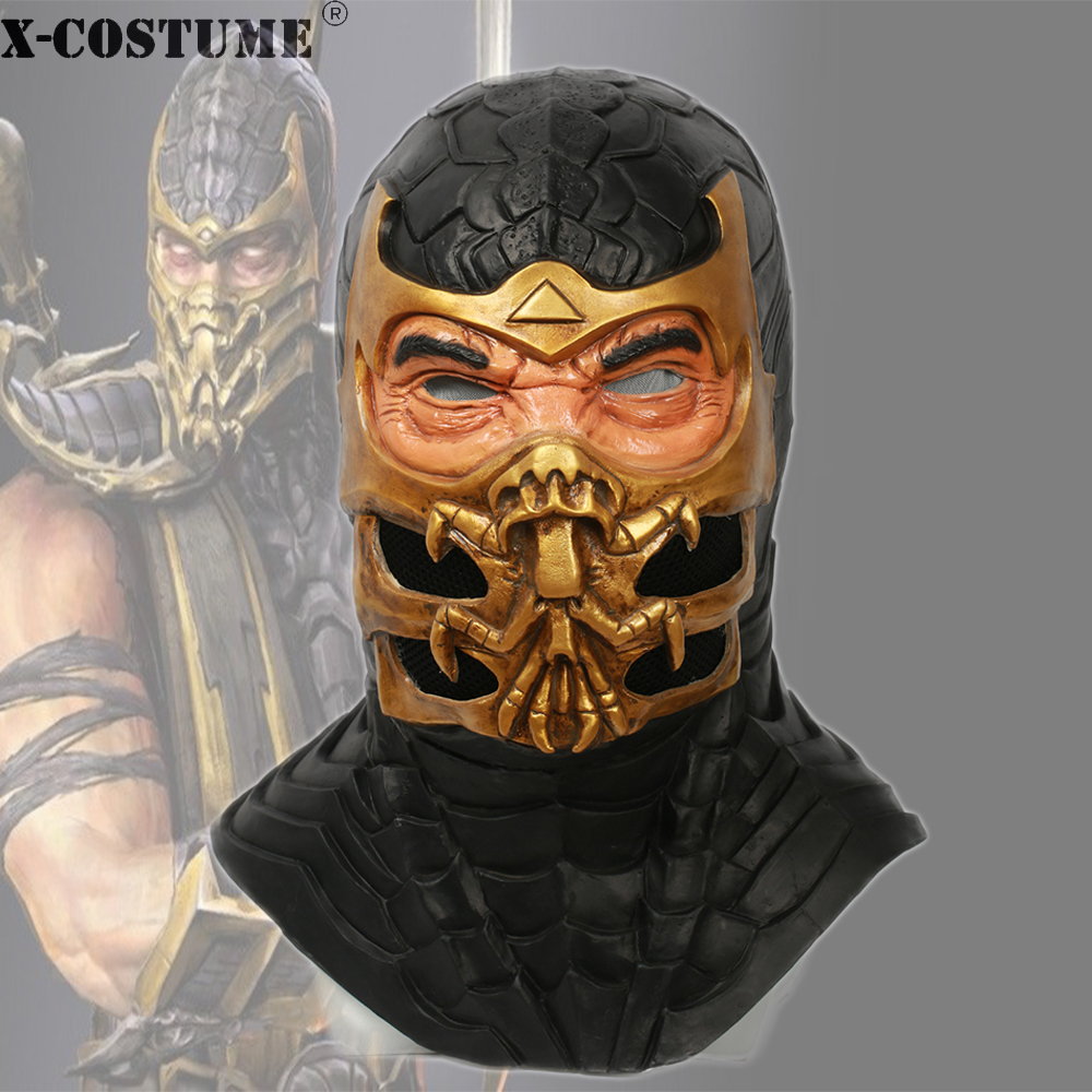X Costume Mortal Kombat 9 Scorpion Mask Game Cosplay Accessories