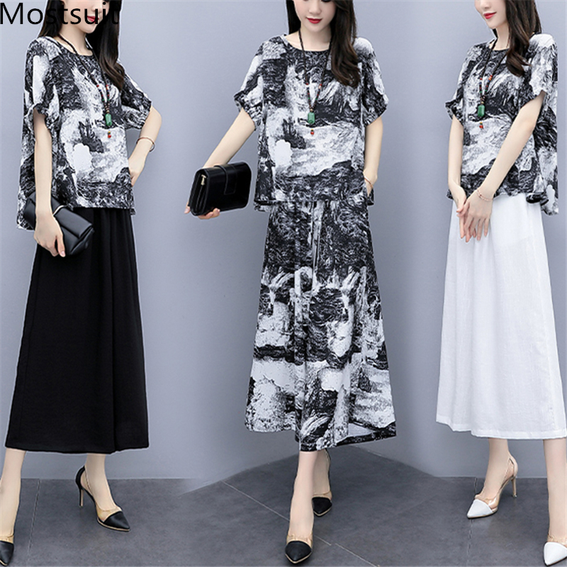 2019 Summer Vintage Printed Two Piece Sets Outfits Women Plus Size Linen Short Sleeve Tops And Cropped Wide Leg Pants Suits 51