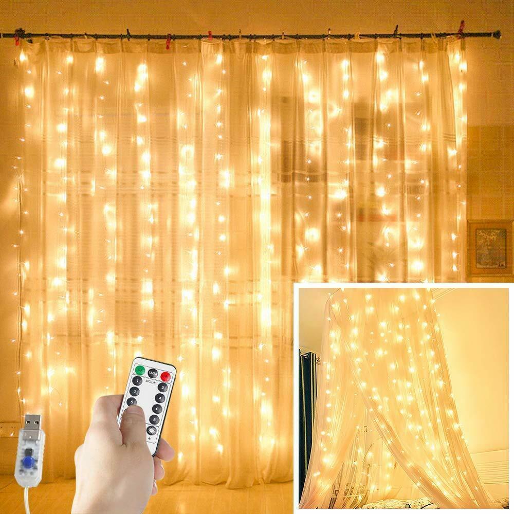 300 LED Fairy String Lights USB Curtain Window Wedding Decor + Controller