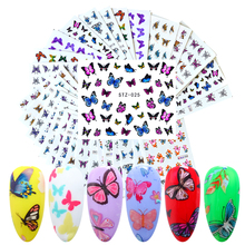 30 pcs Water Stickers For Nails Butterfly Design Mixed Flower Nail Decals Set Letters Girl Manicure Sliders DIY Tips LANJ110-1