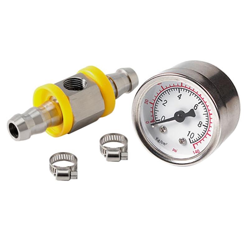 Universal Fuel Pressure Gauge 1/8 NPT(140 Psi) with 3/8 Inch Fuel Line Fuel Pressure Gauge Sensor T-Fitting Adapter