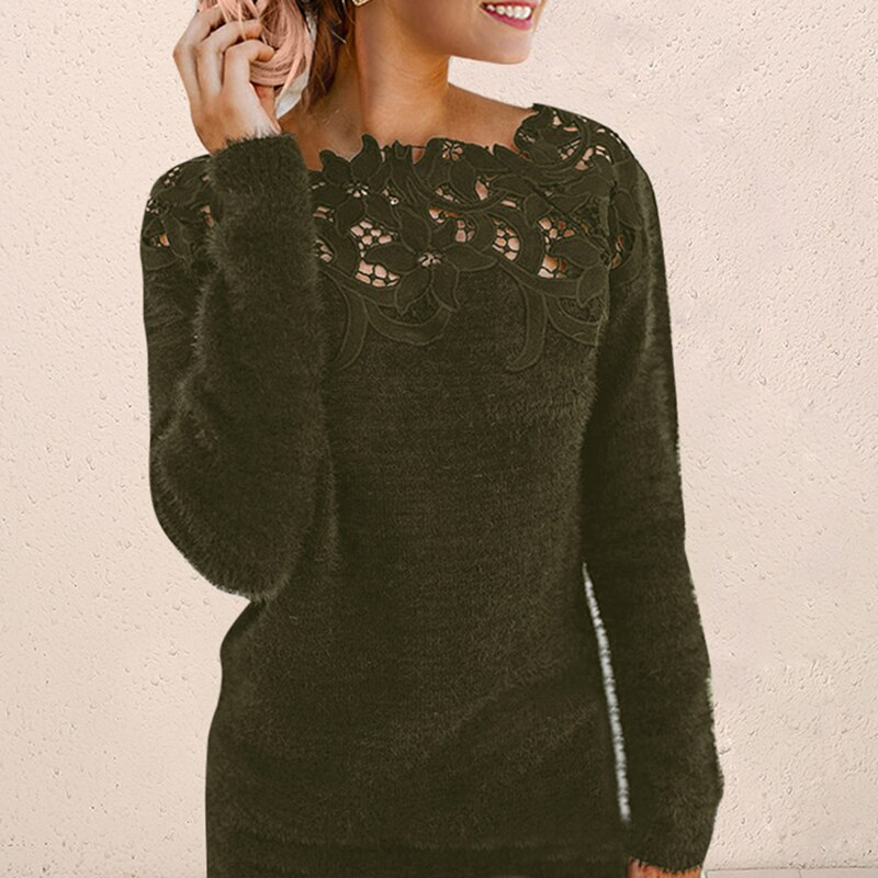 Sweater Knitted Pullovers Plus Size Irregular Women Lace Christmas Winter Fleece Knitted Sweater Autumn Knitwear Pull Femme