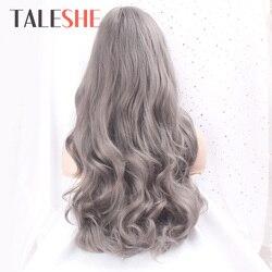 TALESHE-perruque synthétique longue ondulée gris foncé avec frange, perruque pour femmes noires, perruque de Cosplay, afro-américaine Blonde brune noire violette