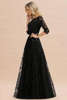 Elegant Black Lace A-line Mother Of The Bride Dresses Modest O-neck 3/4 Sleeves  Wedding Party Dresses Vestido De Madrinha 4